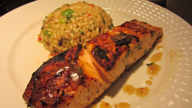 Honey dijon balsamic glazed broiled salmon with risotto