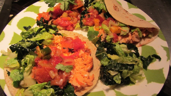 Fish tacos with kale romaine salad and red and yellow tomato salsa